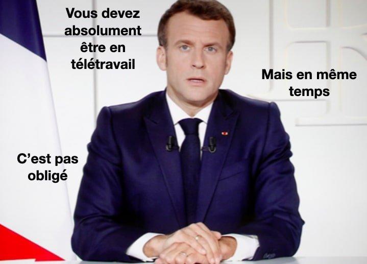 Macron télétravail systématique