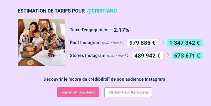 combien gagne cristiano ronaldo instagram