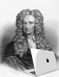Isaac Newton avec un apple MacBook