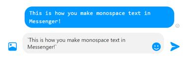Ajouter du texte monospace Facebook message privé