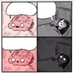 meme cerveau peur fille lit