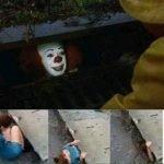 meme clown trottoir