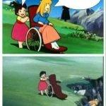 meme fille fauteuil roulant falaise