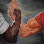 meme handshake bras musclé noir et blanc bras de fer