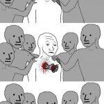 meme wojak trahison poing dans coeur
